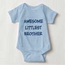 AWESOME LITTLEST BROTHER Blue Baby Outfit Baby Bodysuit