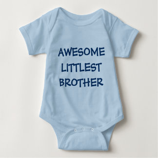 AWESOME LITTLEST BROTHER Blue Baby Outfit Tee Shirt