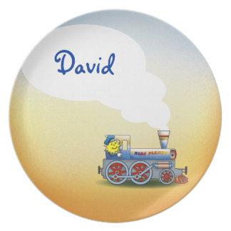 Awesome Locomotive with kid name Party Plates