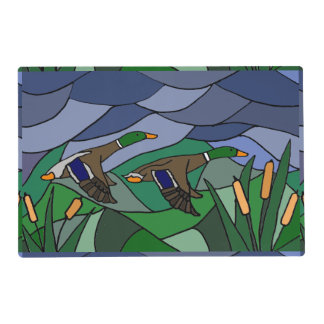 Awesome Mallard Ducks in Flight Abstract Placemat