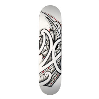 Awesome Maori tribal design on white background Skateboard Deck