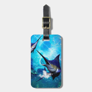 Awesome marlin with bubbles bag tag