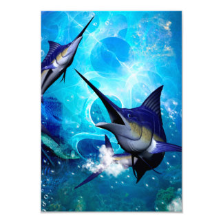 Awesome marlin with bubbles card