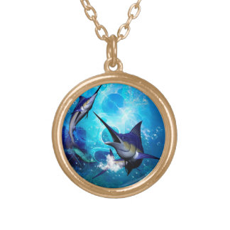 Awesome marlin with bubbles gold plated necklace