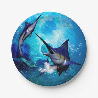 Awesome marlin with bubbles paper plate