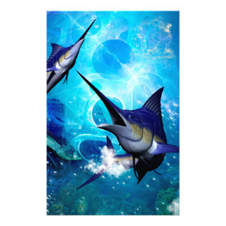Awesome marlin with bubbles stationery