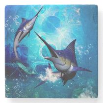 Awesome marlin with bubbles stone coaster