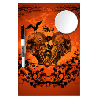 Awesome mechanical skull dry erase board with mirror