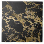 """Awesome modern faux gold glitter black marble ceramic tile<br><div class=""""desc"""">Awesome trendy modern faux gold glitter black marble texture image, shining glow yellow gold glitter abstract strokes, black grey faux marble stone, special occasions, texture, Shapes, design, messy, craft, artwork, illustration, custom, young, decorative, modern, creative, summer bright colors, fashion, unique, fresh, luxury, chic, beautiful, pretty, cute, art, popular, awesome, stylish,...</div>"""