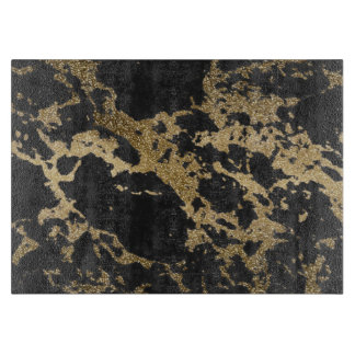 Awesome modern faux gold glitter black marble cutting board