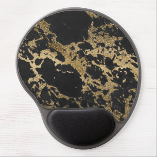 Awesome modern faux gold glitter black marble gel mouse pad