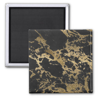 Awesome modern faux gold glitter black marble magnet