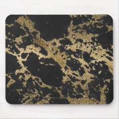 Awesome Modern Faux Gold Glitter Black Marble Mouse Pad at Zazzle