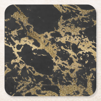 Awesome modern faux gold glitter black marble square paper coaster