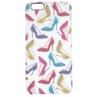 Awesome modern watercolor  girly high heel shoes clear iPhone 6 plus case