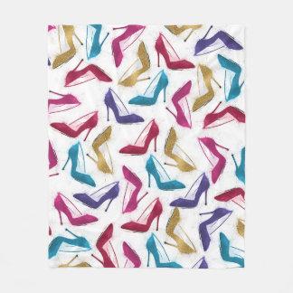 Awesome modern watercolor  girly high heel shoes fleece blanket