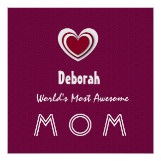 Awesome MOM Burgundy Background and Star A05 Posters