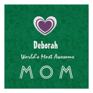 Awesome MOM Forest Green with Purple Heart Name B1 Print