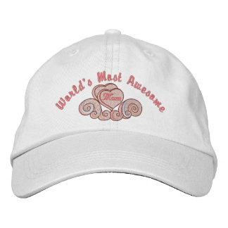 Awesome Mom Hearts Embroidered Hat
