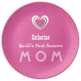 Awesome MOM Peony Pink Heart and Name A08. Porcelain Plates