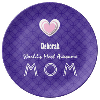 Awesome MOM Royal Purple and Pink Star A01 Porcelain Plates