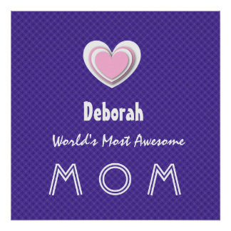 Awesome MOM Royal Purple and Pink Star A01 Poster