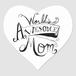 Awesome Mom Heart Sticker
