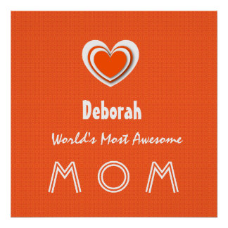 Awesome MOM Tangerine Orange Star and Name A01. Poster