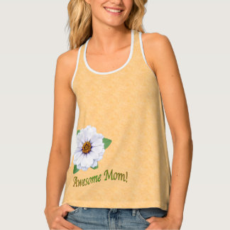 Awesome Mom White Zinnia Flowers For Mother's Day Tank Top