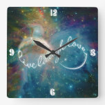 """Awesome mystic """"Live Laugh Love"""" infinity symbol Square Wall Clock"""