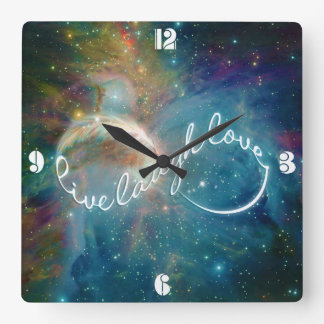 "Awesome mystic ""Live Laugh Love"" infinity symbol Square Wall Clock"