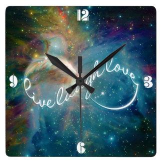 "Awesome mystic ""Live Laugh Love"" infinity symbol Square Wallclocks"
