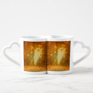 Awesome mystical forest with butterflies coffee mug set