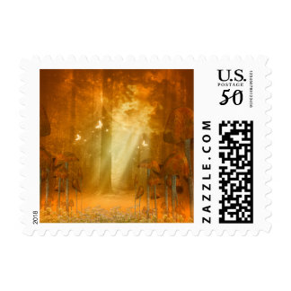 Awesome mystical forest with butterflies postage