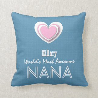 Awesome NANA Pastel Blue Pink Star and Name A07V Throw Pillow