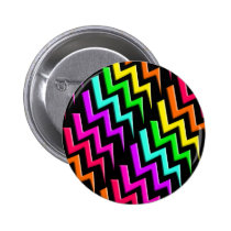 Awesome Neon Lightning Bolts Pattern Pinback Button