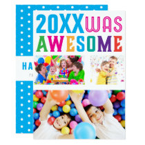 Awesome New Years Celebration Polka Dot Card