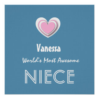Awesome NIECE Pastel Blue Pink Star and Name A09Z Poster