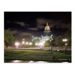 Awesome Night View, Colorado State Capital Bldg Postcard