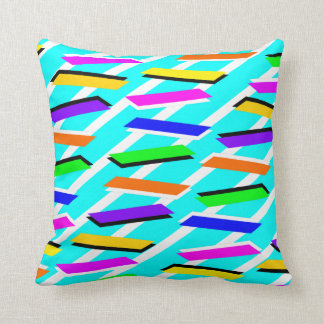 Awesome Nineties Aqua Pattern Throw Pillows