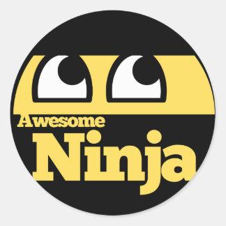 Awesome Ninja Round Stickers