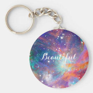 "Awesome Orion nebula shining stars ""Beautiful"" Basic Round Button Keychain"