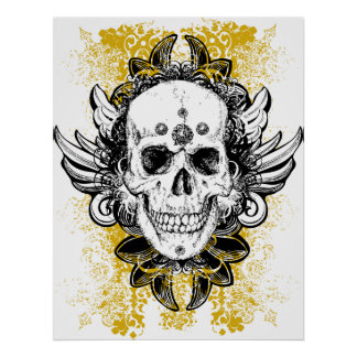 Awesome ornate grunge skull poster print
