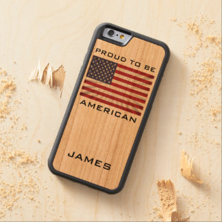 Awesome Patriotic Proud to be American Monogram Carved® Cherry iPhone 6 Bumper