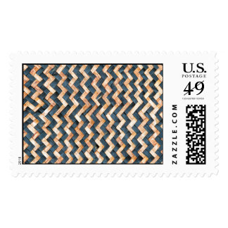 awesome pattern blue  and Gold  Foil Metallic Postage Stamp
