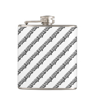 Awesome Pattern Retro 80s Slang Pop Culture Flask