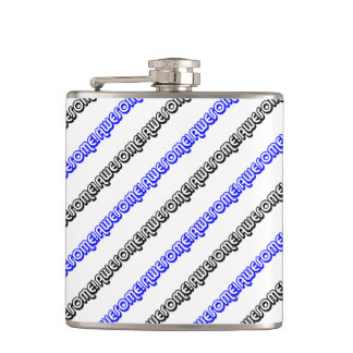Awesome Pattern Retro 80s Slang Pop Culture Hip Flask
