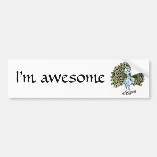 Awesome Peacock Bumper Sticker