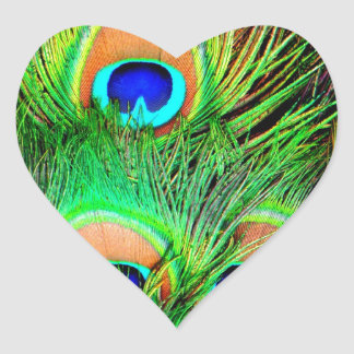 Awesome Peacock Colorful Feather Design Heart Sticker