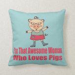 Awesome Piggy Throw Pillow